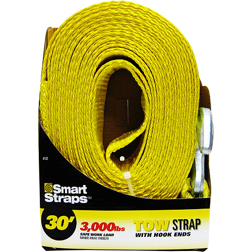 SmartStraps 30' Tow Strap with Hooks, Yellow 1 Pack