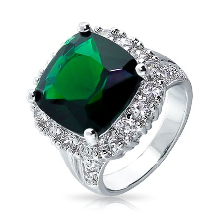 10.3 CT Square Simulated Emerald CZ Cocktail Ring Cushion Cut Halo Rhodium Plated Base (Cushion Cut Cocktail Ring)