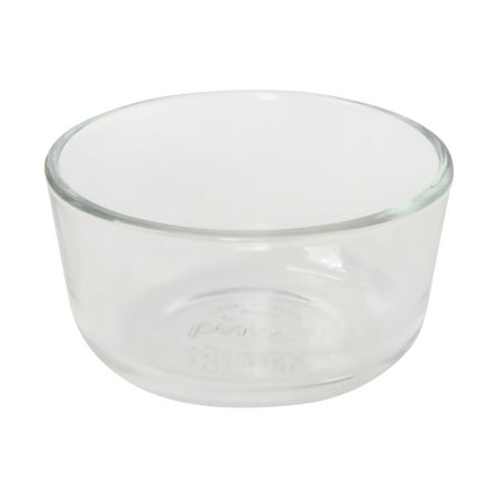 Pyrex 7202 1-Cup Round Clear Glass Storage - Glass Vessel Clear Frosted Bowl