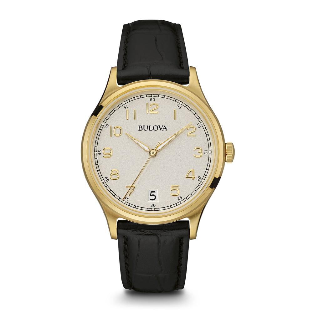 Bulova 97B147 Mens Gold Finish Watch with Leather Strap by Bulova