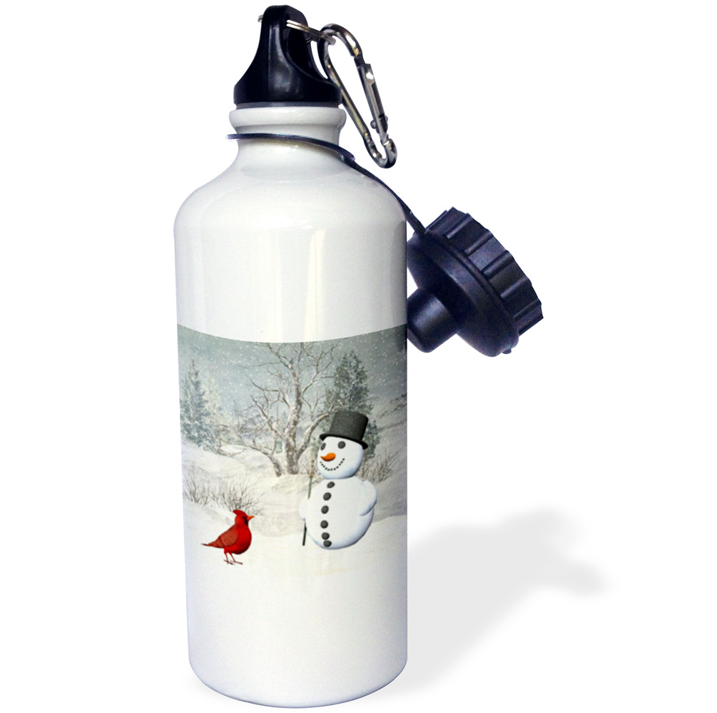 3dRose Cardinal And Snowman In Winter, Sports Water Bottle, 21oz by Supplier Generic