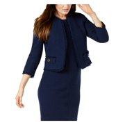 Anne Klein Womens Tweed Open Front Collarless Blazer Navy 4