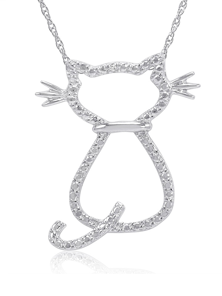 Diamond Accent Cat Pendant-Necklace in Sterling Silver