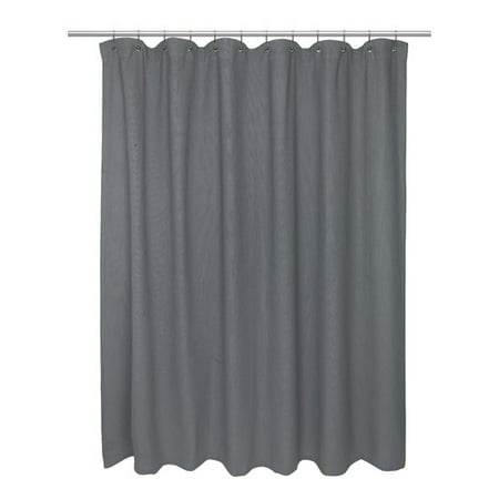 Standard Size 100 Cotton Waffle Weave Shower Curtain Pewter