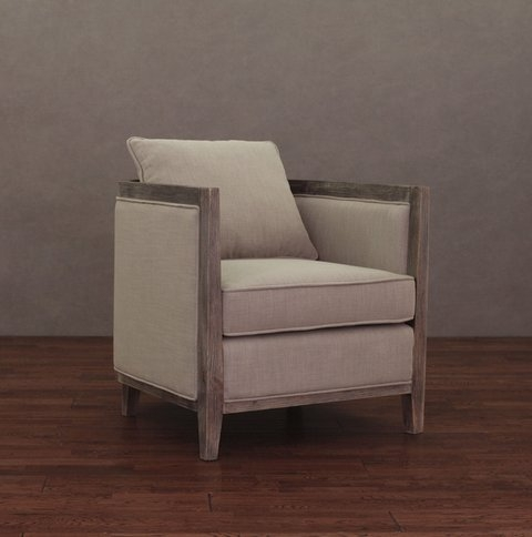 Elliot Beige Linen Modern Lounge Armchair Reading Chair with Wood Frame - Living Room Furniture or Bedroom Chair