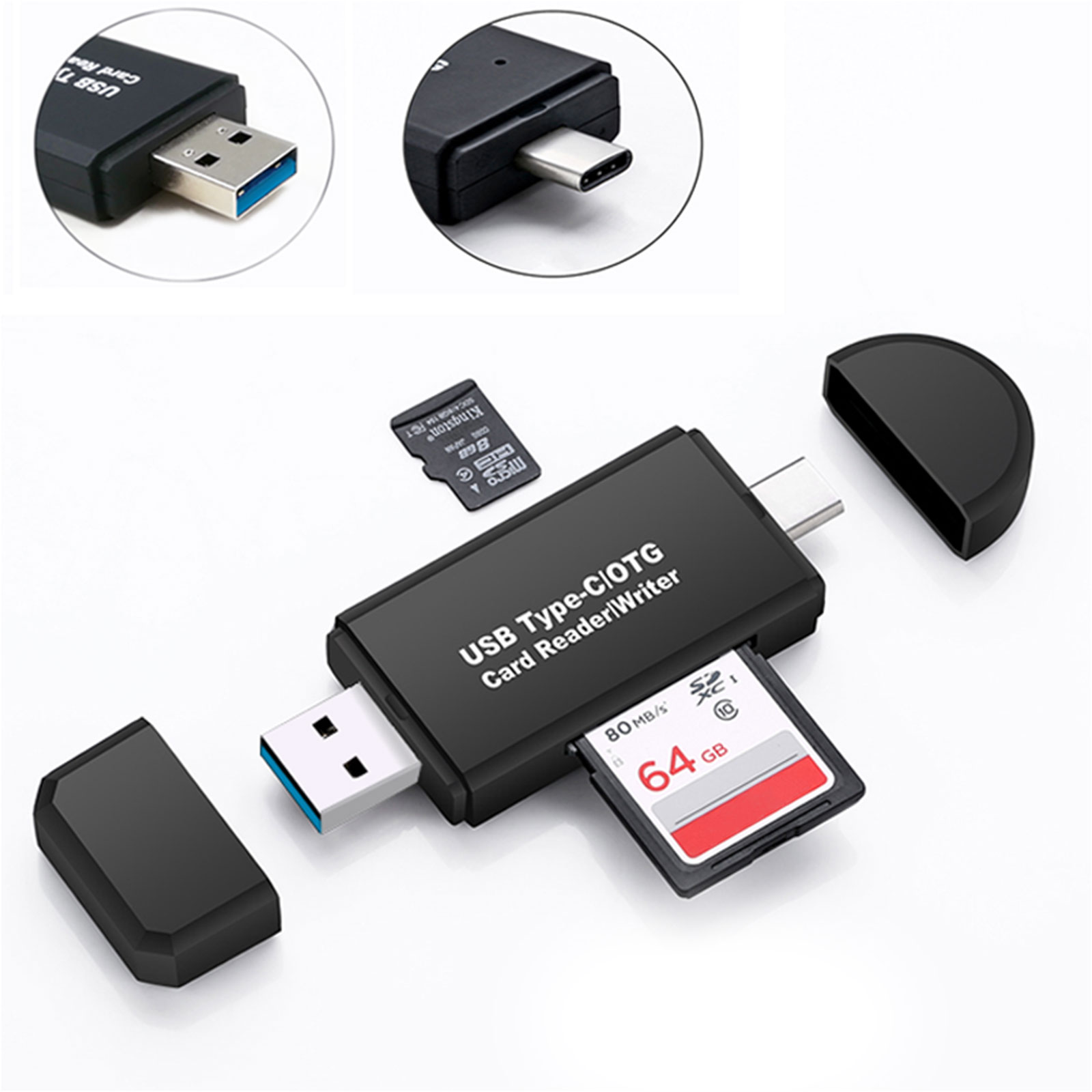 TSV USB C 3.0 Type C to USB3.0 OTG HUB Adapter USB/TF/SD Micro SD Memory Card Reader