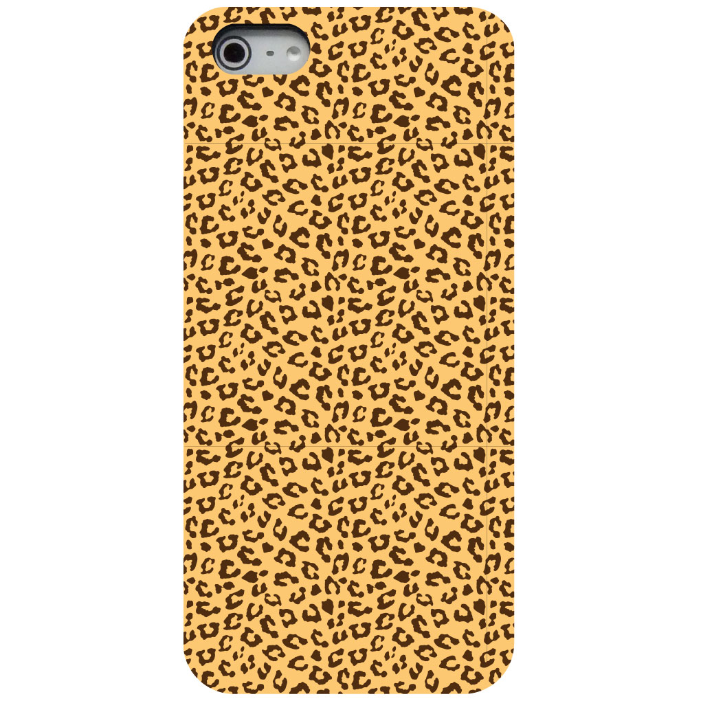 CUSTOM Black Hard Plastic Snap-On Case for Apple iPhone 5 / 5S / SE - Beige Tan Brown Cheetah Skin Spots