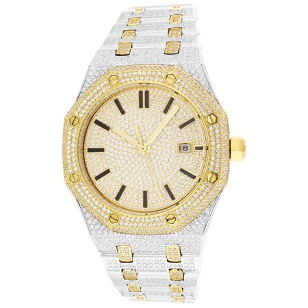 Iced Out Watch (Men's Two Tone Steel Octagon Face Gold Finish Iced Out)