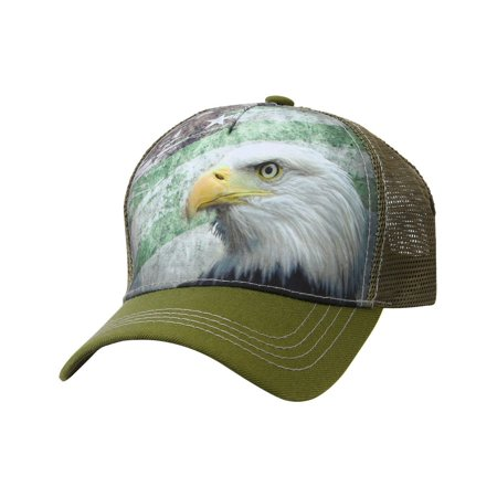 4e56d370 AMERICAN FLAG EAGLE TRUCKER HAT Animal Farm Baseball Cap Adjustable Mesh  (US52_OLIVE)