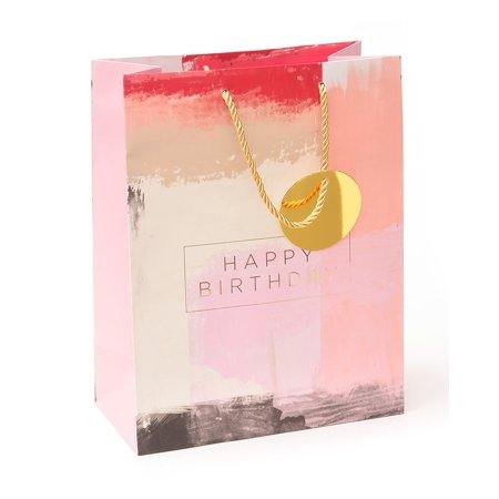George Stanley Pretty Pink Birthday Gift Bag Tag With Gold Foil