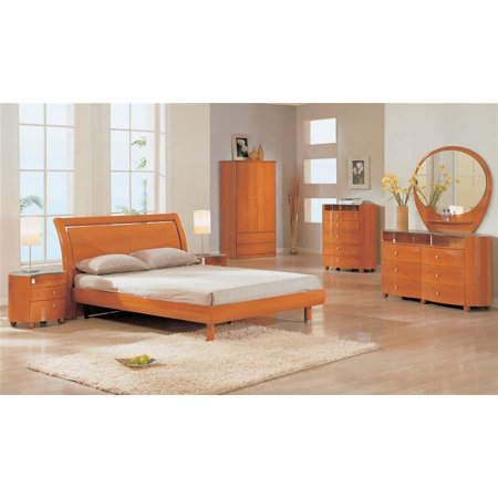 cherry finish 5 pc emily bedroom set