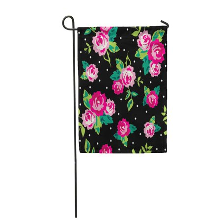 KDAGR Pink Girly Ditsy Dot Rose Flower Small Cute Pattern Garden Flag Decorative Flag House Banner 12x18 inch