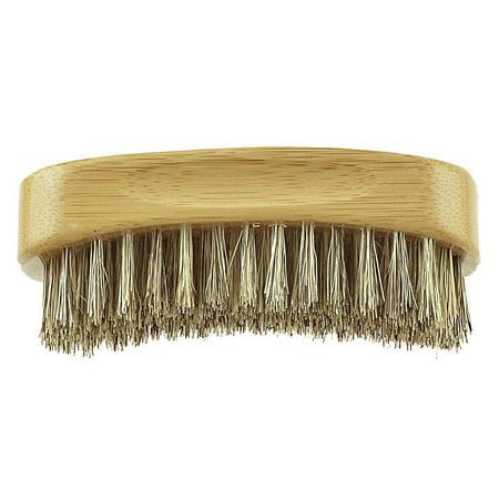 Handle Beard Brush - Bass BS12 Contoured Firm Bristles Men's Hair, Beard and Mustache Brush. 100% Natural Bristles. Pure Bamboo Handle. Travel Bag included (Hard Bristles)