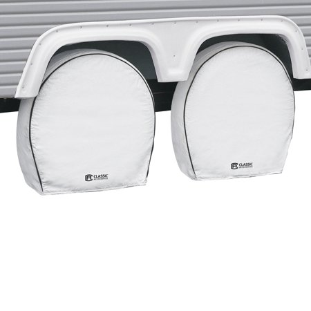 Classic Accessories OverDrive Deluxe RV Wheel Covers (4-pack), White, Choose Wheel Diameter 18