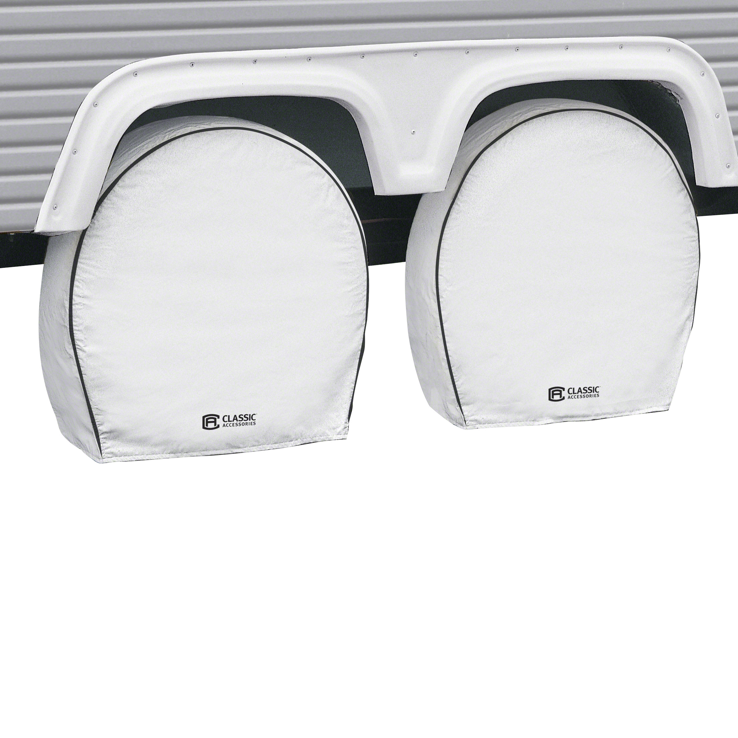 Classic Accessories OverDrive Deluxe RV Wheel Covers (4-pack), White, Choose Wheel Diameter 18'' - 41''