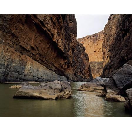 Rio Grande winding through Santa Elena Canyon Big Bend National Park Texas USA Poster Print
