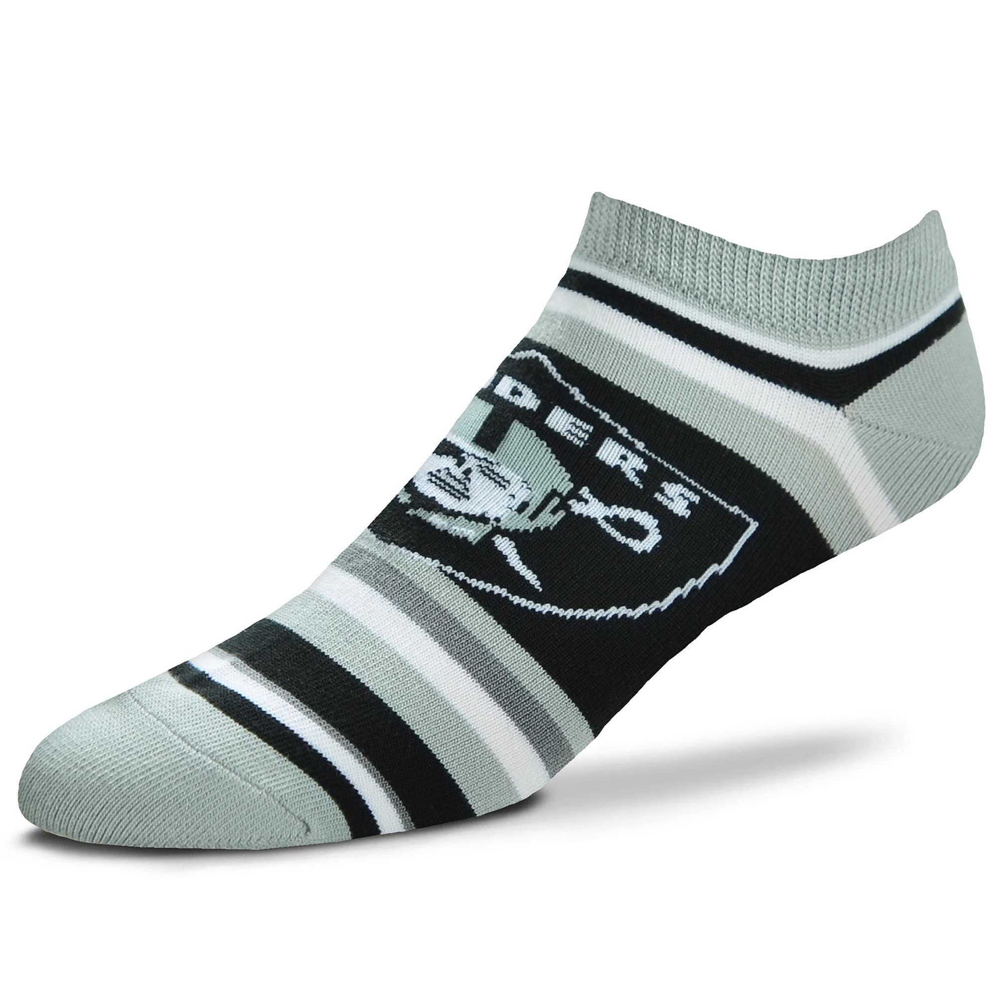 Oakland Raiders For Bare Feet Women's Lotta Stripe No Show Sock - M