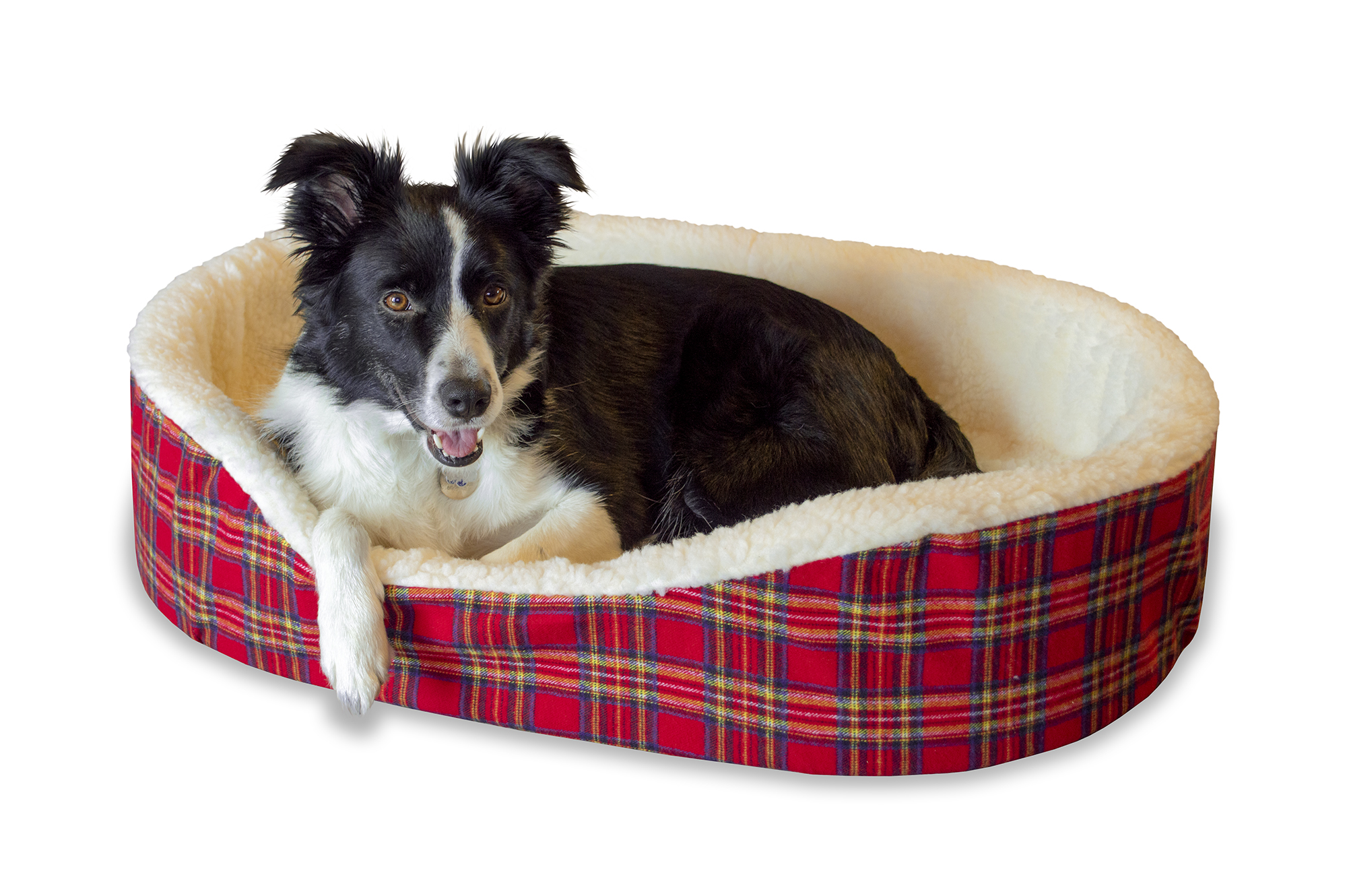 Extra Large Plaid Cuddler Dog Pet Bed