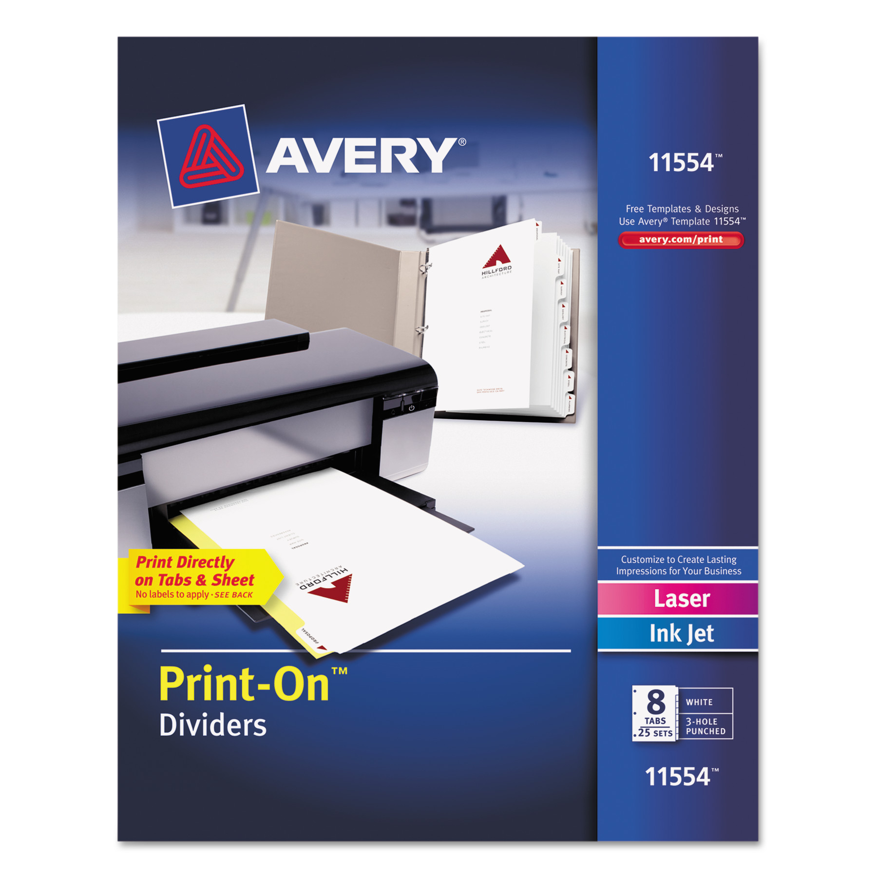Avery Customizable Print On Dividers 8 Tab Letter 25 Sets