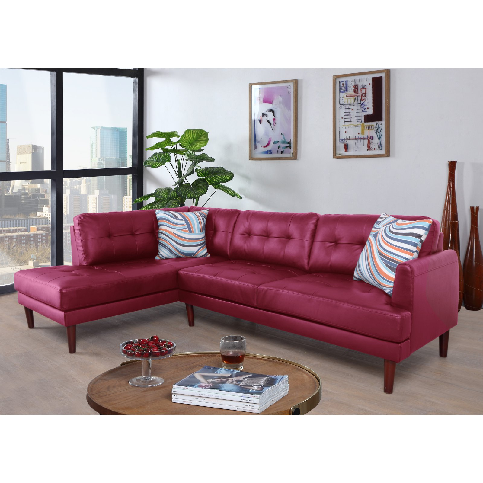 Beverly Fine Furniture Aery Faux Leather Sectional Sofa
