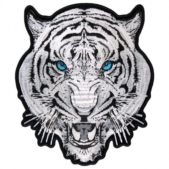 "White Tiger, Exceptional Quality Iron-on / Saw-on, Heat Sealed Backing Rayon PATCH - 3"" X 4"""