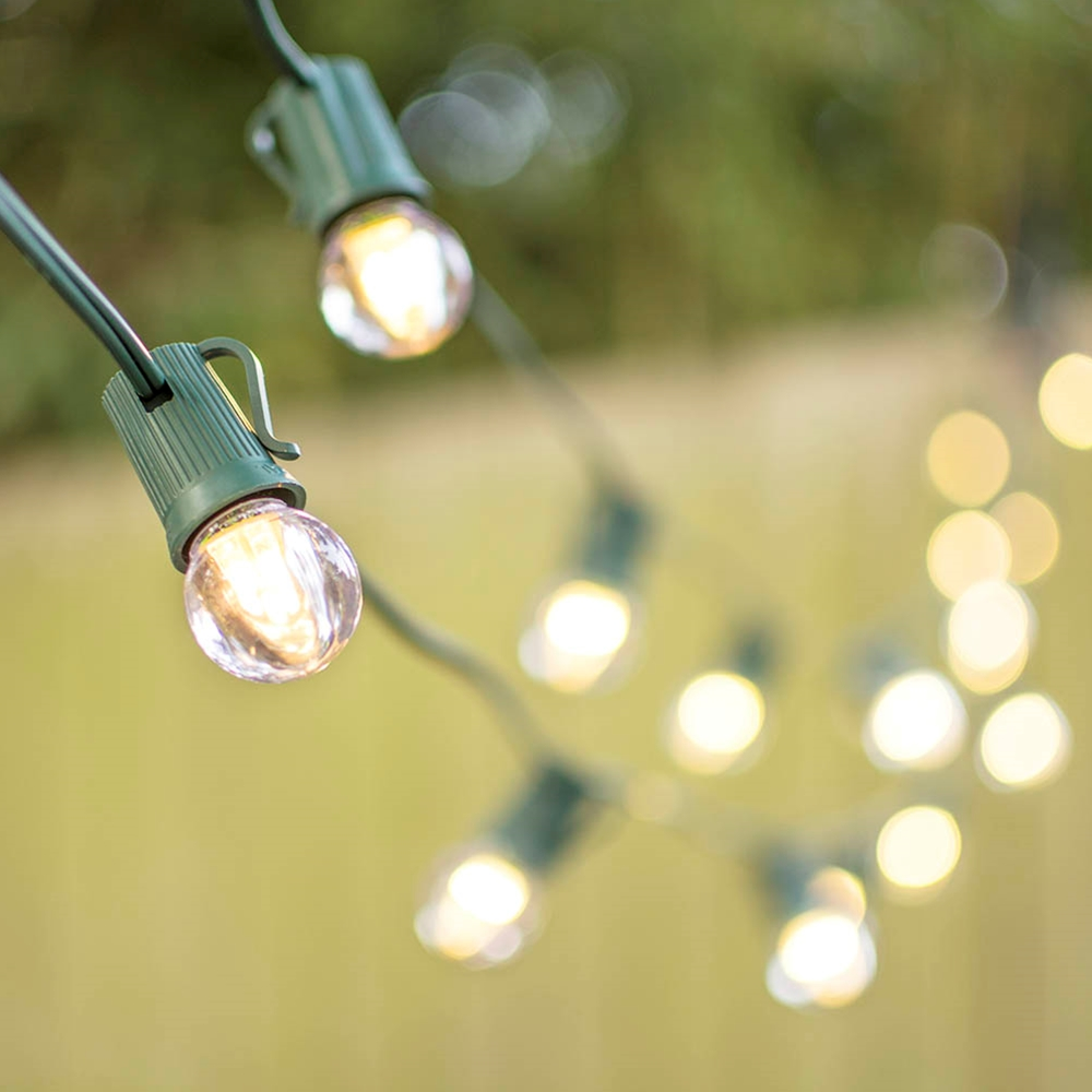 Outdoor String Lights LED Globe String Lights G30 Bulb 100 ft Green C9 Strand Warm White by LSD
