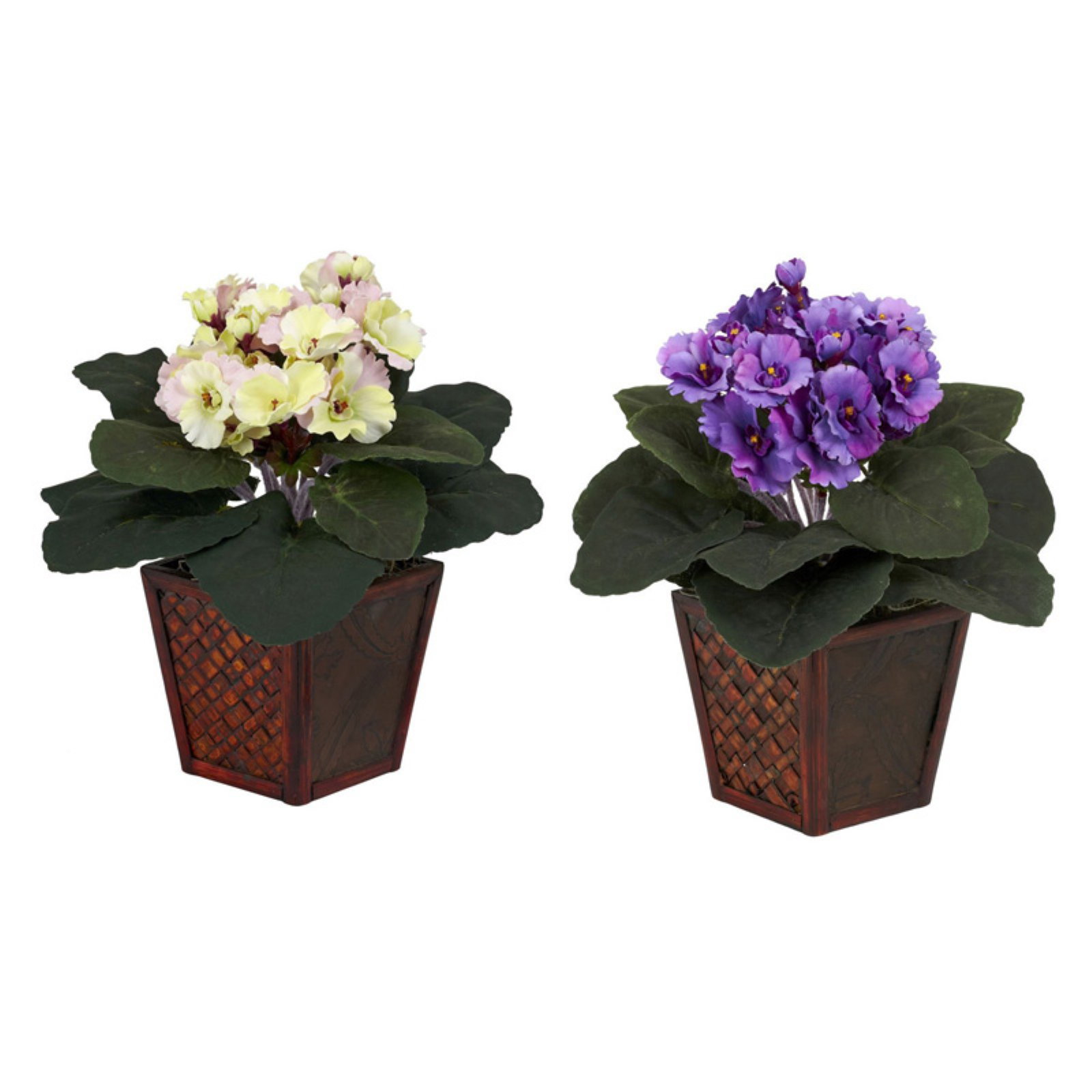 Nearly Natural African Violet Silk Plant with Vase, Purple and Cream/Pink, 2pc