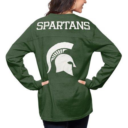 Michigan State Spartans Pressbox Women's The Big Shirt Oversized Long Sleeve T-Shirt - Green
