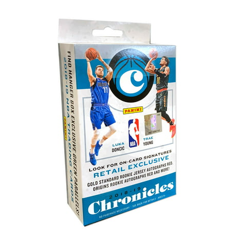 2018-19 Panini Chronicles Basketball Hanger Box- Featuring Luka Doncic and Trae Young| On card Signatures Retail Exclusives |Gold Standard Rookie Jersey Autographs