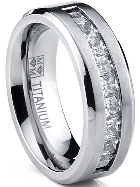 Titanium Men's Wedding Band Engagement Ring with 9 large Princess Cut Cubic Zirconia