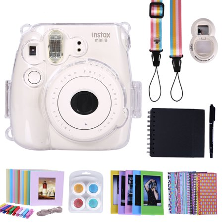 HDE Camera Case for Fujifilm Instax Mini 9 or 8/8+ Camera Case and Accessories Box Includes Hardshelll Case and Strap Album Selfie Lens Photo Line Frames Border Stickers Pen & More