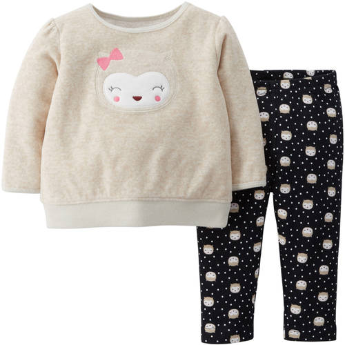 Child Of Mine by Carter's Newborn Baby Girl Fleece Top and Pants Outfit Set