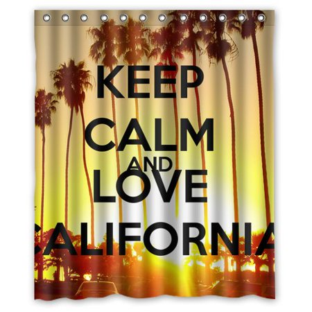 DEYOU Keep Calm And Love California Palm Trees Shower Curtain Polyester Fabric Bathroom Size