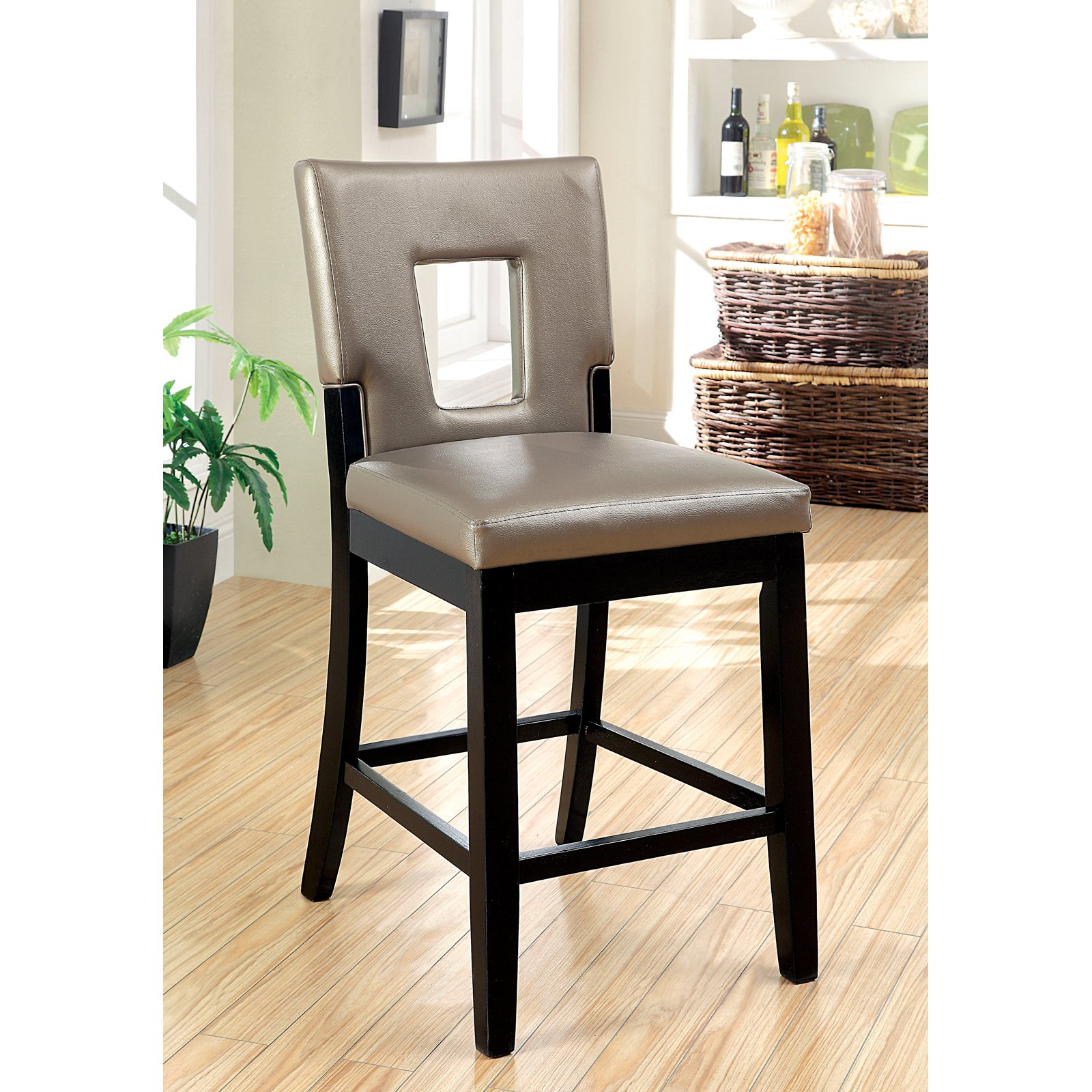 Terrific Furniture Of America Vanderbilte 2 Piece Counter Height Open Back Dining Chairs Black Dailytribune Chair Design For Home Dailytribuneorg