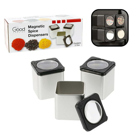 Magnetic Spice Jars - Tins Attach to Most Refrigerator Doors - Shake or Pour Containers (Set of 3 Dispensers) ()