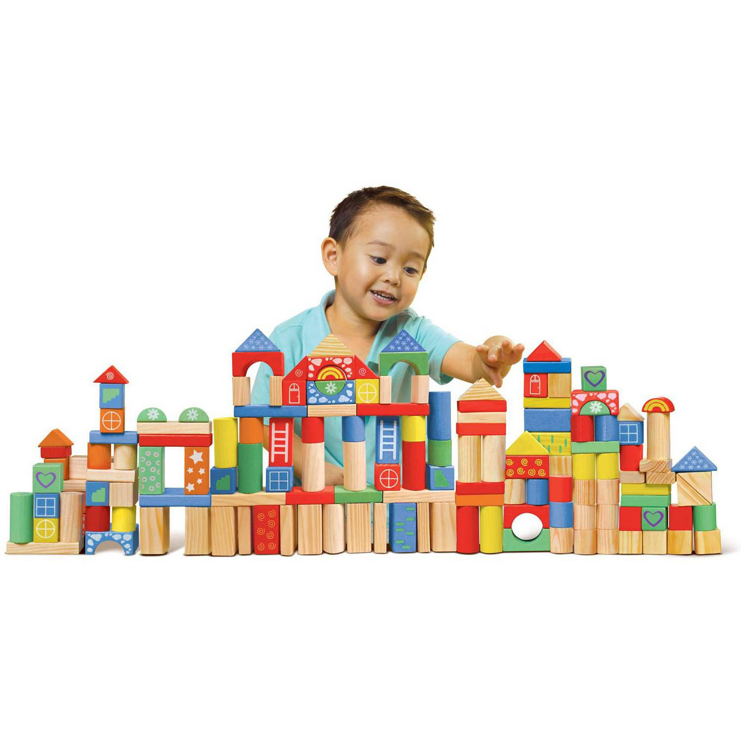 Wooden Toys For Pre School : Piece wooden block set building wood toy shape color