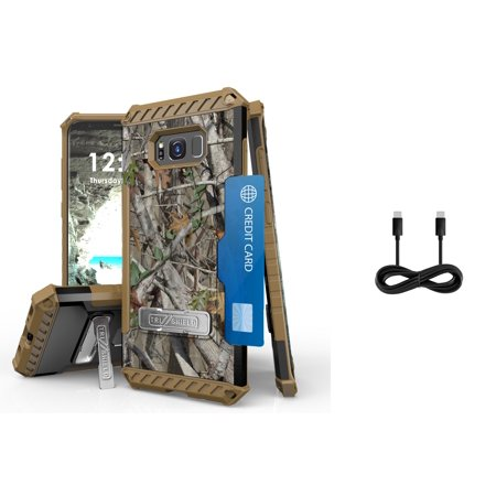 Samsung Galaxy S8+ Plus (2017) - Accessory Bundle with Tri-Shield [Military-Grade] Rugged Kickstand Case - [Real Tree Camo], Type-C (USB-C) to Type-C (USB-C) Cable [4 ft.], Atom LED](Atom Real Steel)