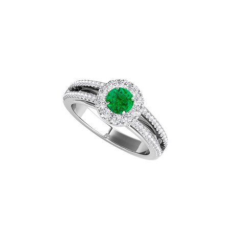 Design Shank Ring - Split Shank Design Halo Ring with Emerald and CZ Rows