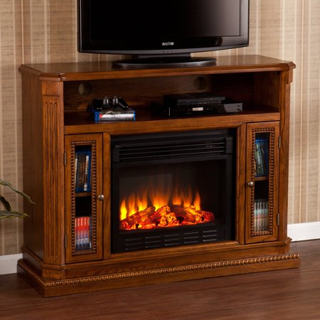 Southern Enterprises Atkinson Rich Brown Oak Electric Fireplace Media Console