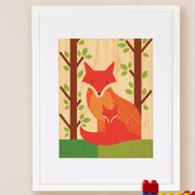 Petit Collage Fox Baby, Small Framed Art
