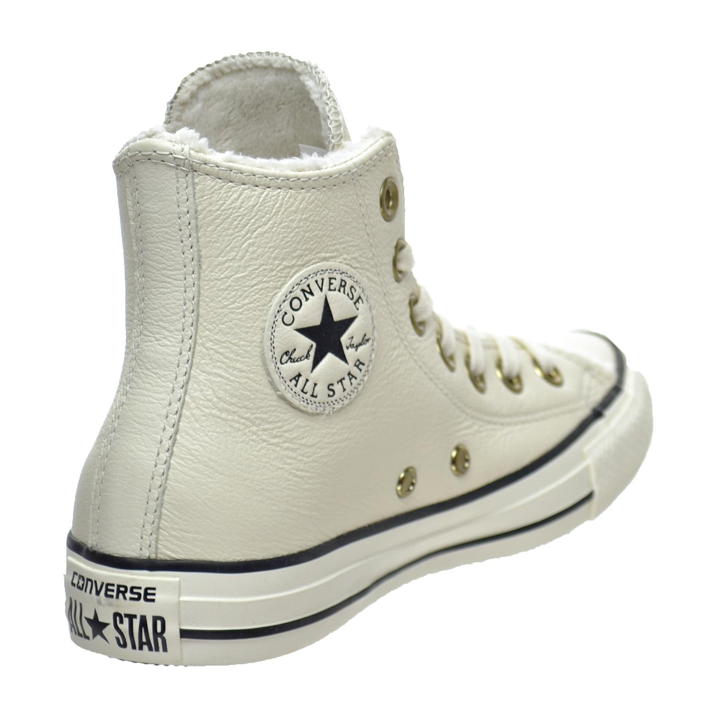 04df36a4147 Converse Chuck Taylor All Star Winter Knit Fur Hi Top Women s Shoes  Parchment Black 553367c - Walmart.com