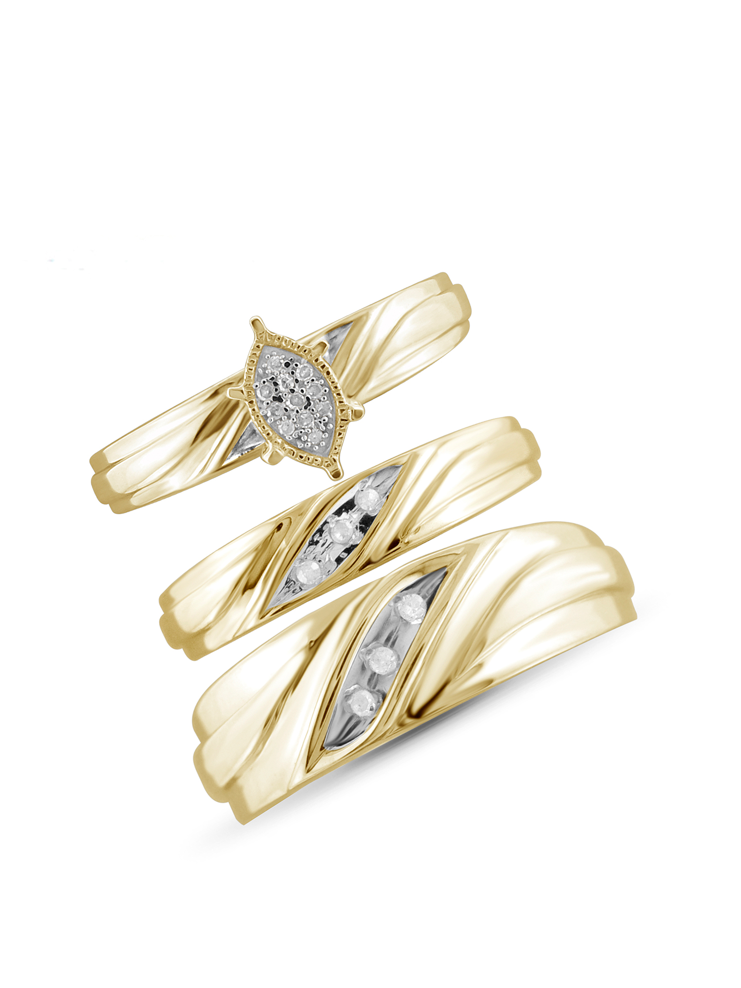 1/10 Carat T.W. White Diamond Gold Over Silver Trio Engagement Ring Set