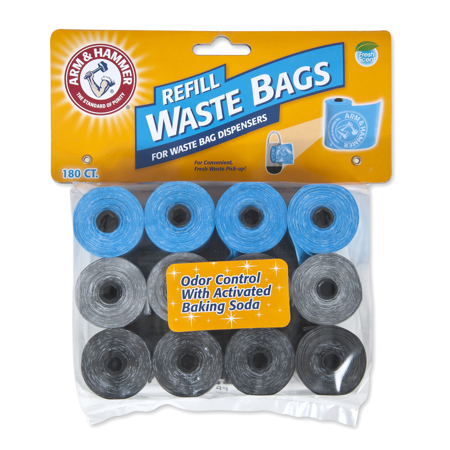 Arm & Hammer Disposable Waste Bag Refills Assorted Colors (Blue, Silver, Black) 180 (Pet Waste Bag Refills)