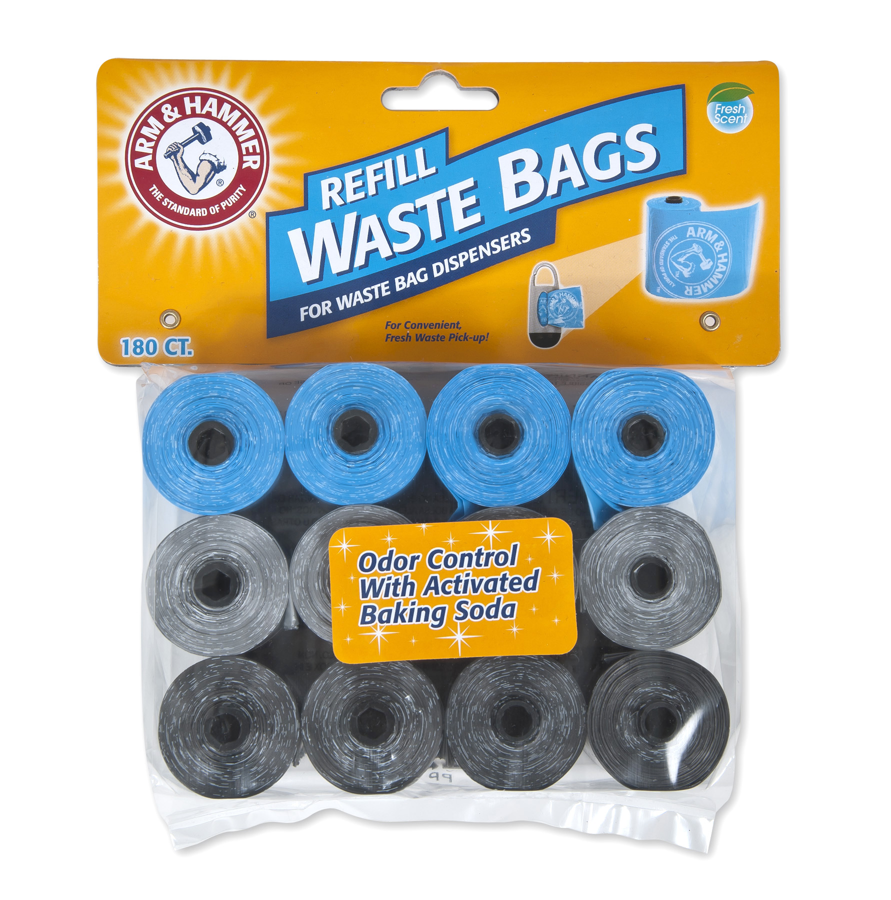 Arm & Hammer Disposable Waste Bag Refills Assorted Colors (Blue, Silver, Black) 180 Count