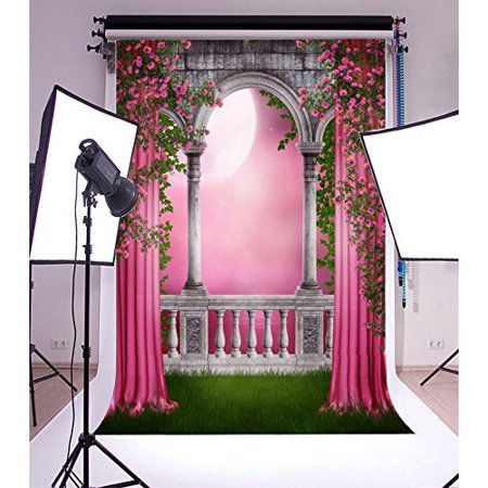 HelloDecor Polyester 5x7ft Backdrop Photography Background Pink Garden with Curtains and Roses Flowers Vine Arch Pillar Stone Castle Gloomy Backdrop Halloween G (Cute Halloween Backgrounds)