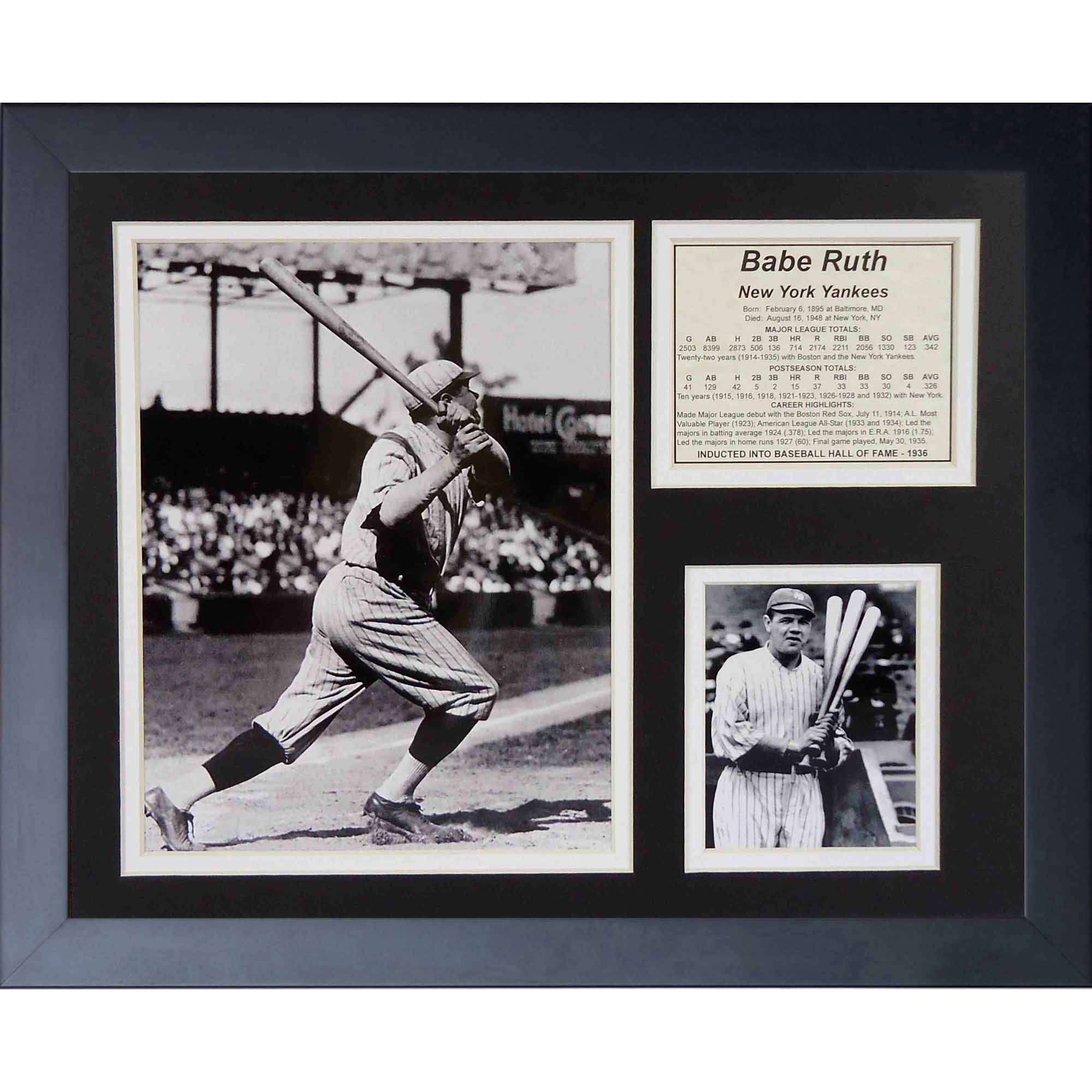 "Legends Never Die ""Babe Ruth Swing"" Framed Photo Collage, 11"" x 14"""