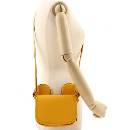 x DISNEY Mickey Patricia Saddle in Glove Calf Leather with Mickey Ears Banana - Mickey Mouse Gloves For Adults