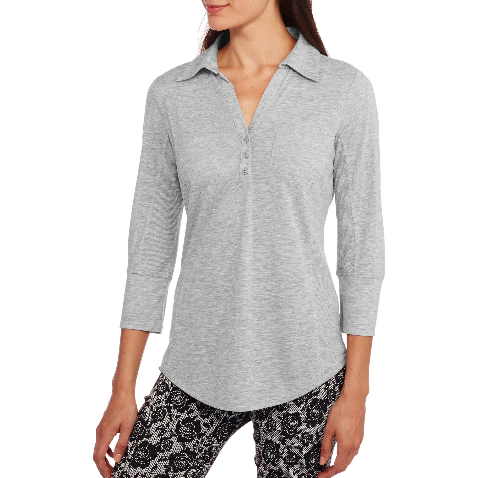 Faded Glory Women's Popover Henley with Comfy Ribbed Insets