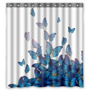PHFZK Personalized Beautiful Blue Butterflies Art Print Design Polyester Fabric Bathroom Shower Curtain 66x72 inches