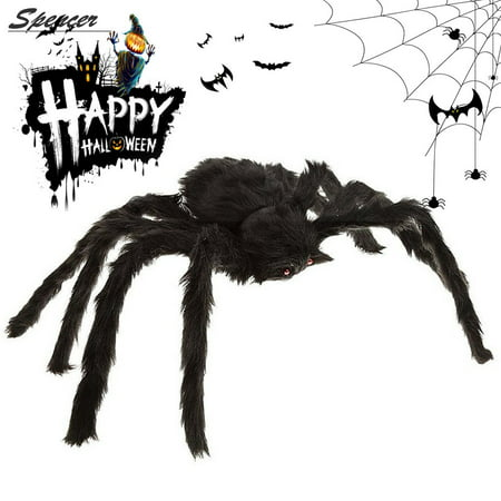 Spencer 4FT 125CM Giant Fake Plush Light-up Black Spider Prank Joke Scary Toys for Haunted House Halloween Decor(Black) - Halloween Scare Prank Michael